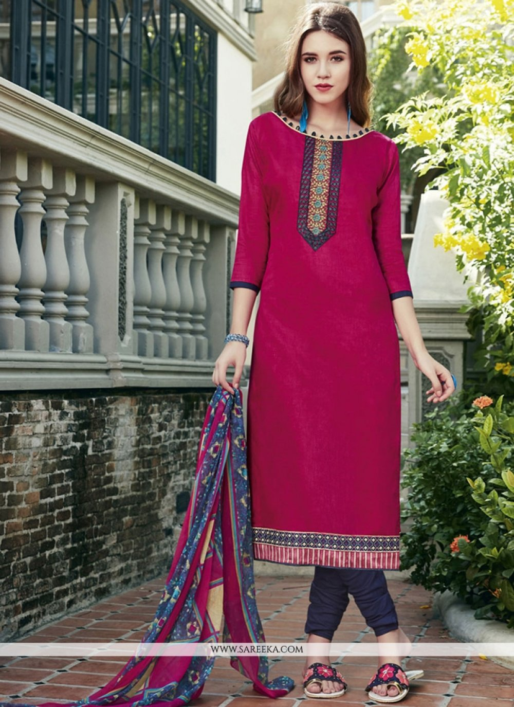 Print Work Magenta Churidar Suit