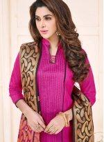 Print Work Magenta Cotton   Churidar Suit