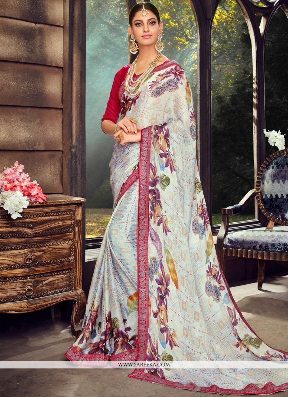 Print Work Multi Colour Art Silk Printed Saree