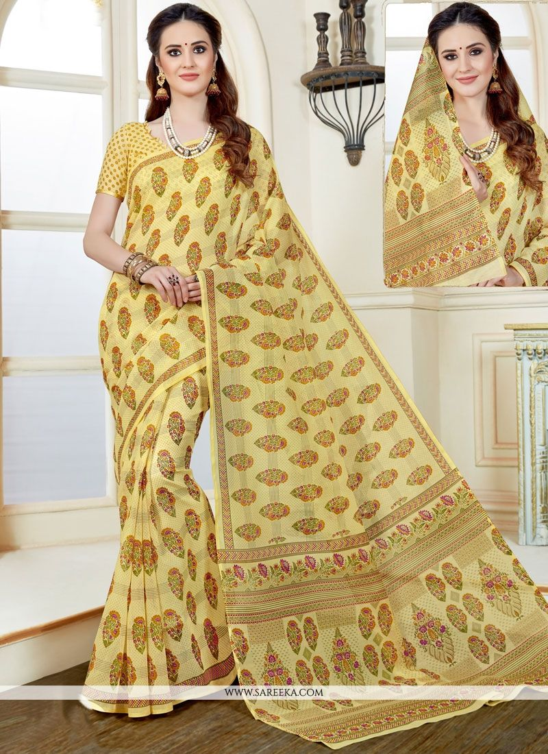 Print Work Multi Colour Casual Saree