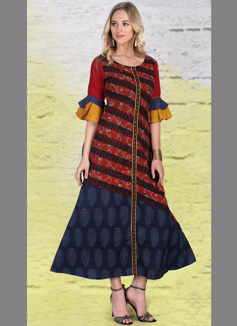 Print Work Multi Colour Cotton   Party Wear Kurti