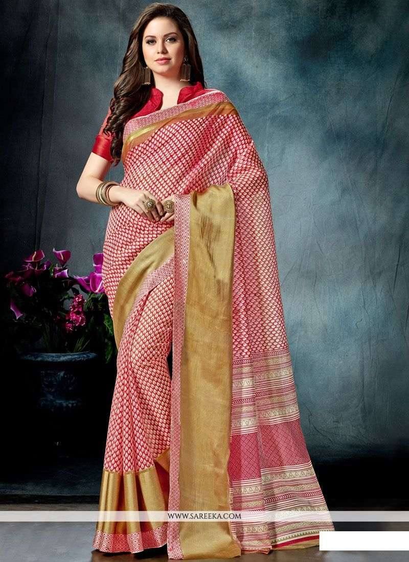 Print Work Multi Colour Cotton   Printed Saree
