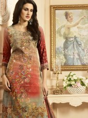 Print Work Multi Colour Faux Crepe Designer Palazzo Suit
