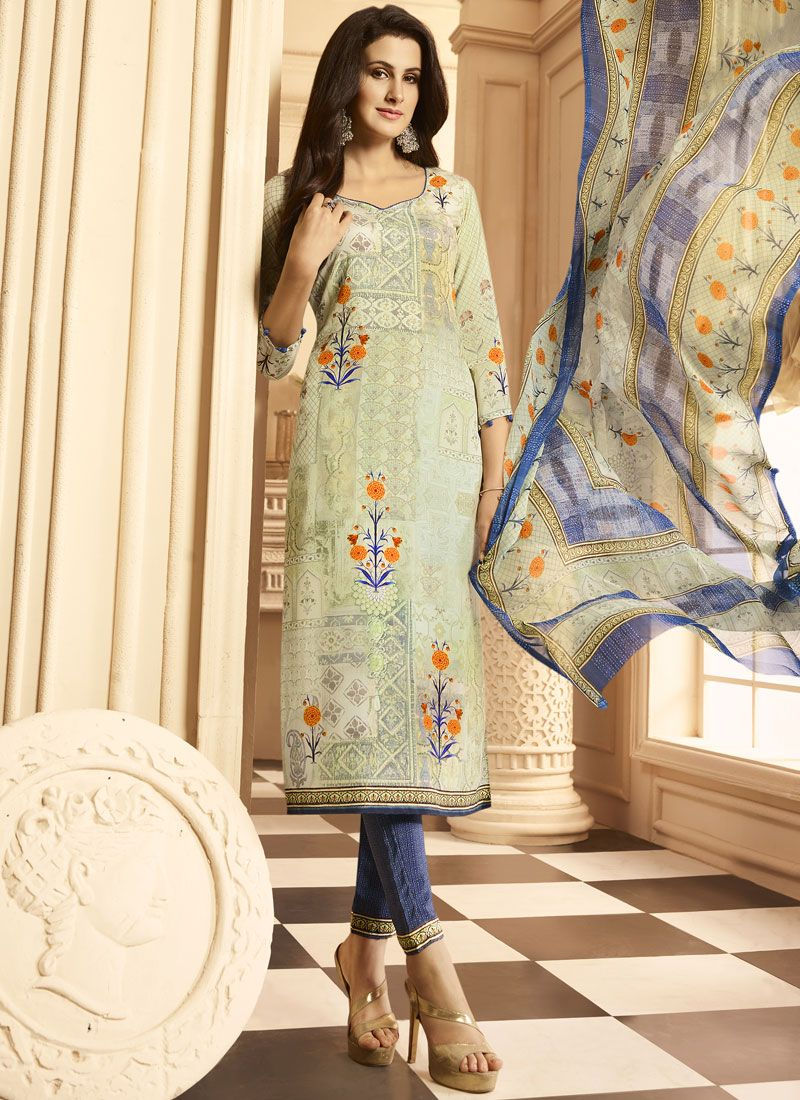 Print Work Multi Colour Faux Crepe Designer Suit