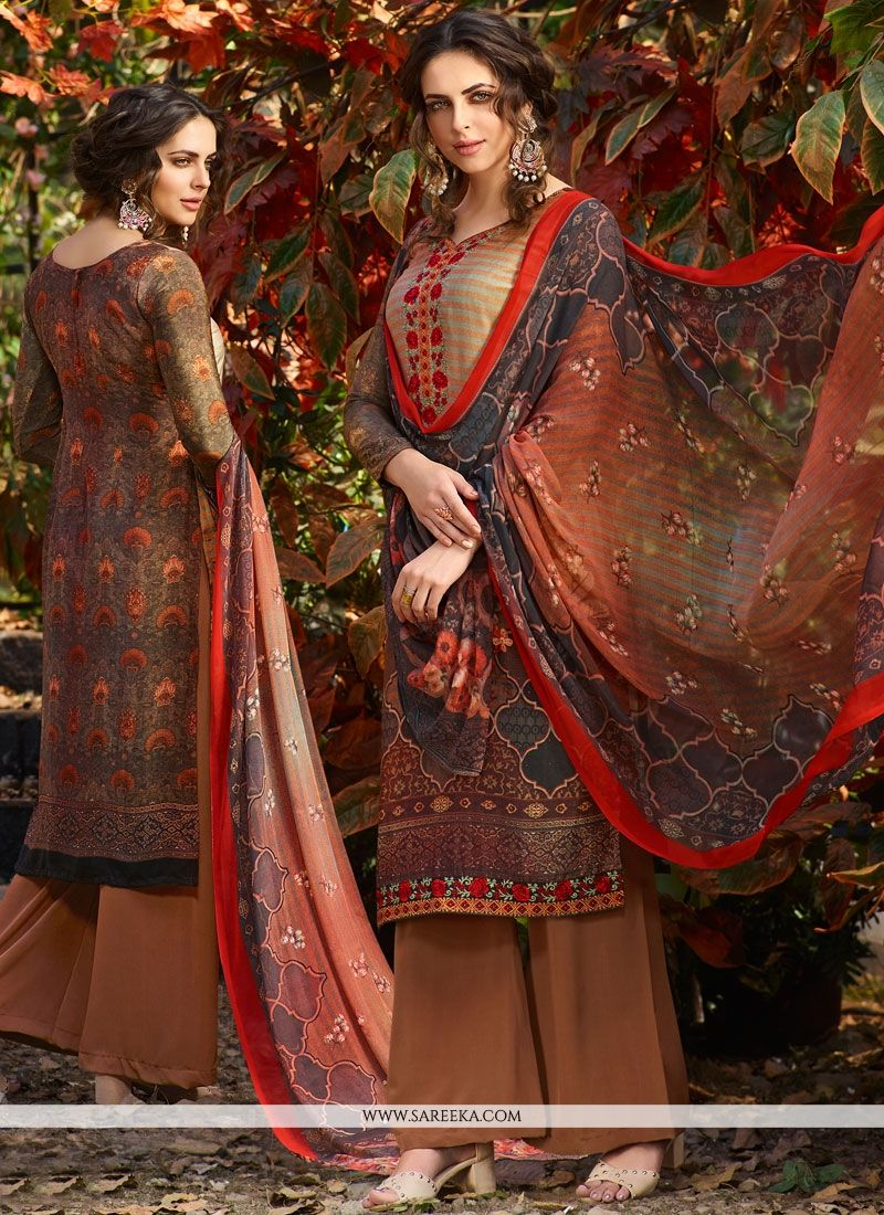 Print Work Multi Colour Palazzo Suit