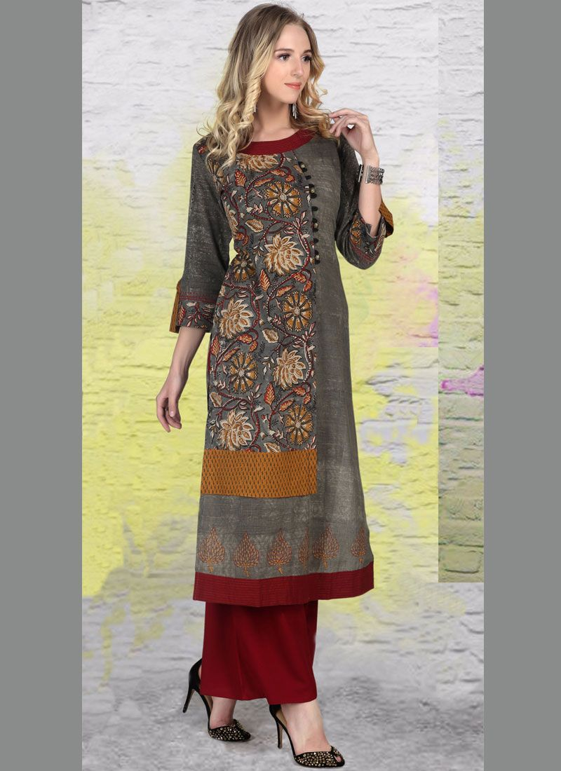 Print Work Multi Colour Party Wear Kurti
