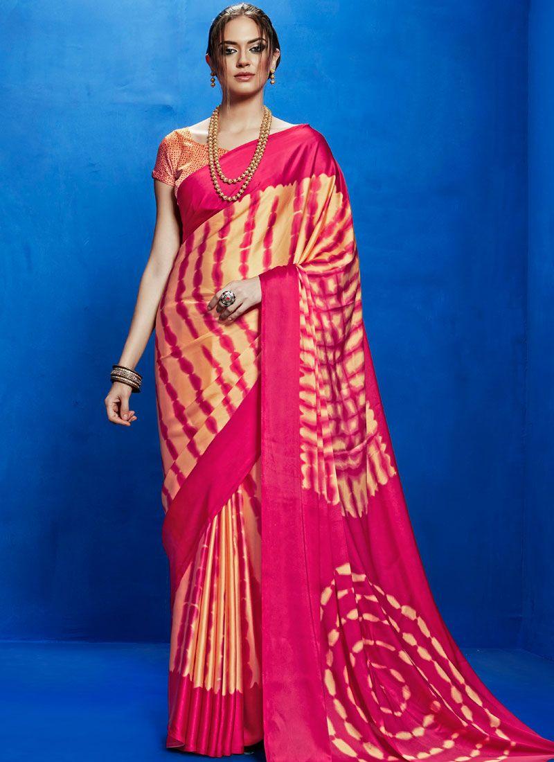 Print Work Multi Colour Satin Casual Saree