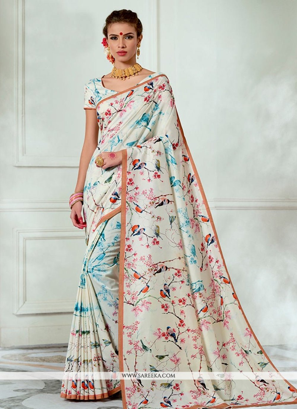 Print Work Multi Colour Traditional  Saree