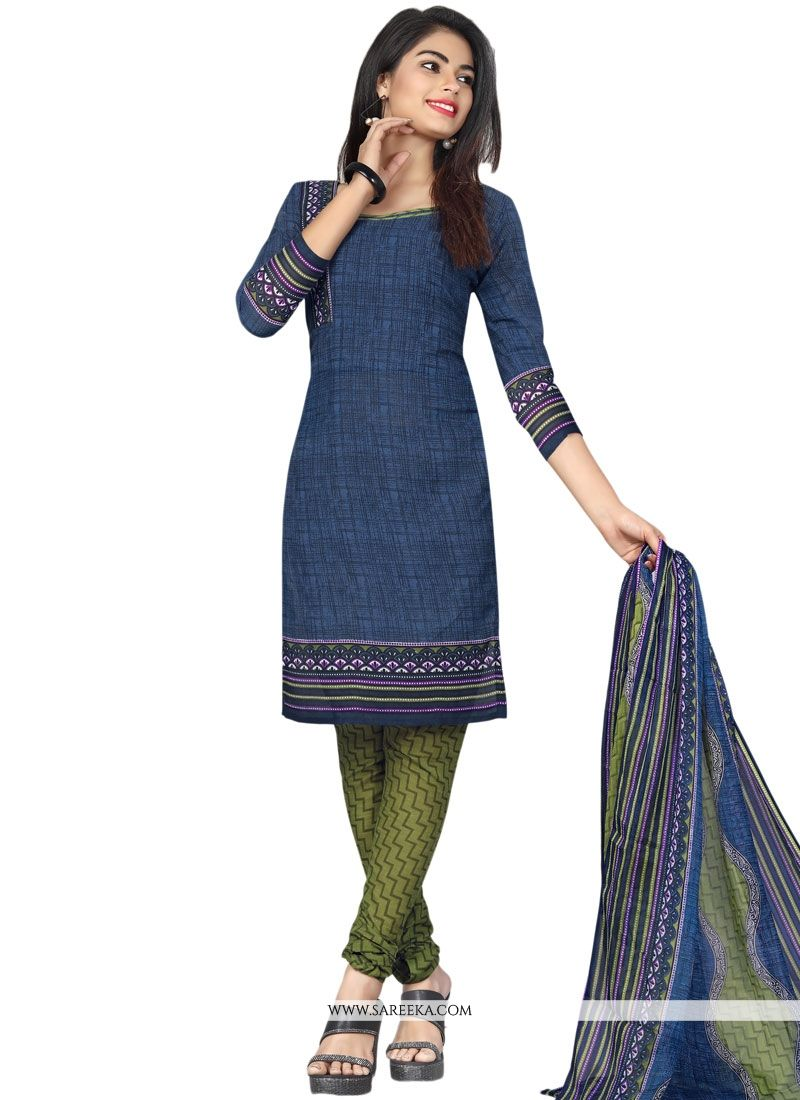 Print Work Navy Blue Cotton   Churidar Suit