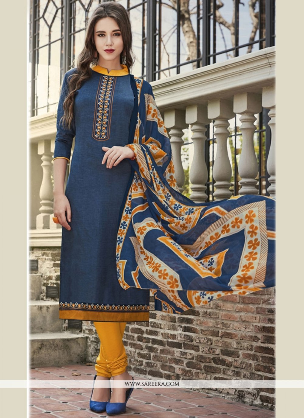Print Work Navy Blue Cotton Satin Churidar Suit