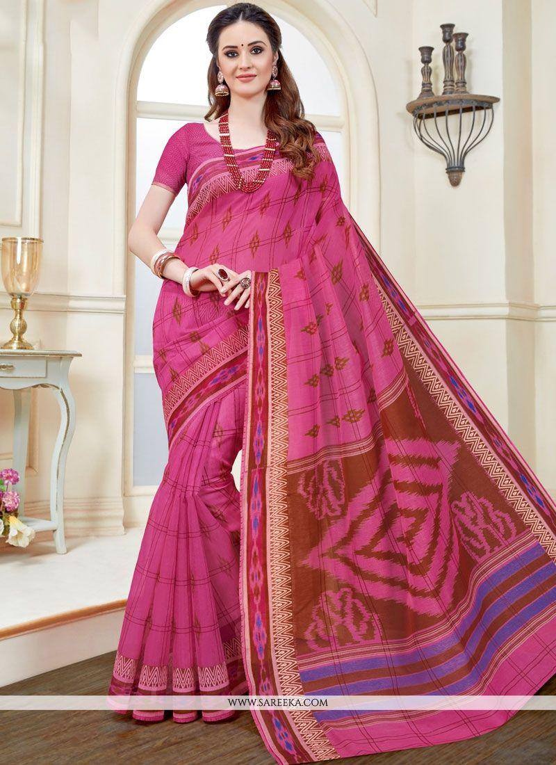 Print Work Pink Cotton   Casual Saree