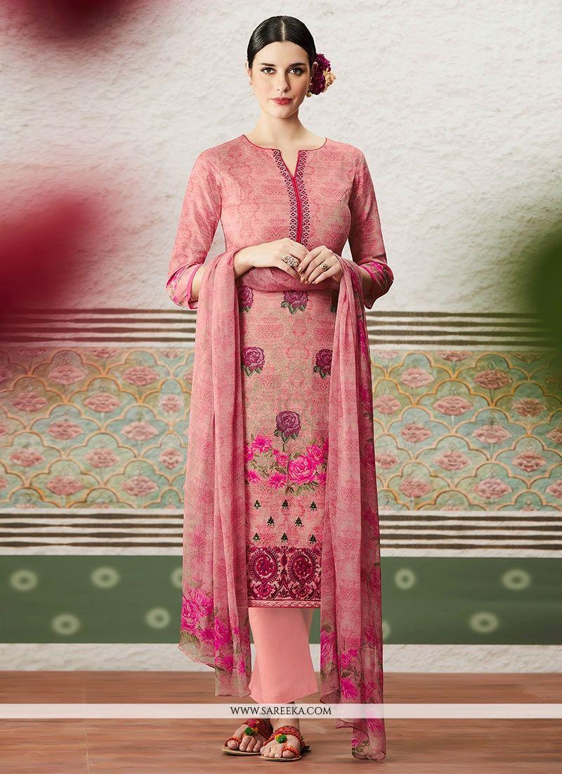 Print Work Pink Cotton Satin Pant Style Suit