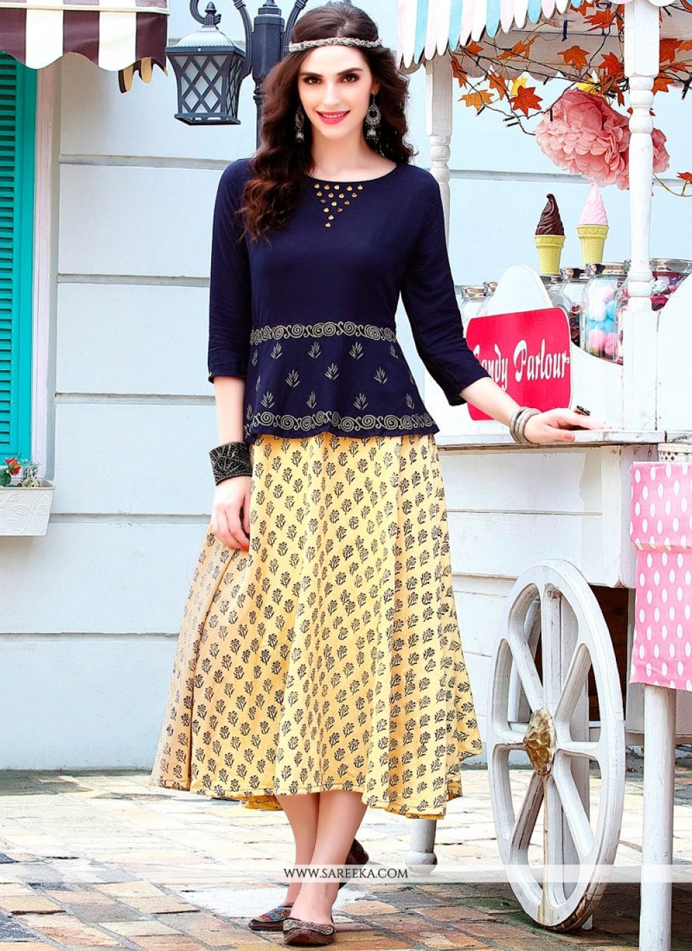 Print Work Rayon Cream and Navy Blue Party Wear Kurti