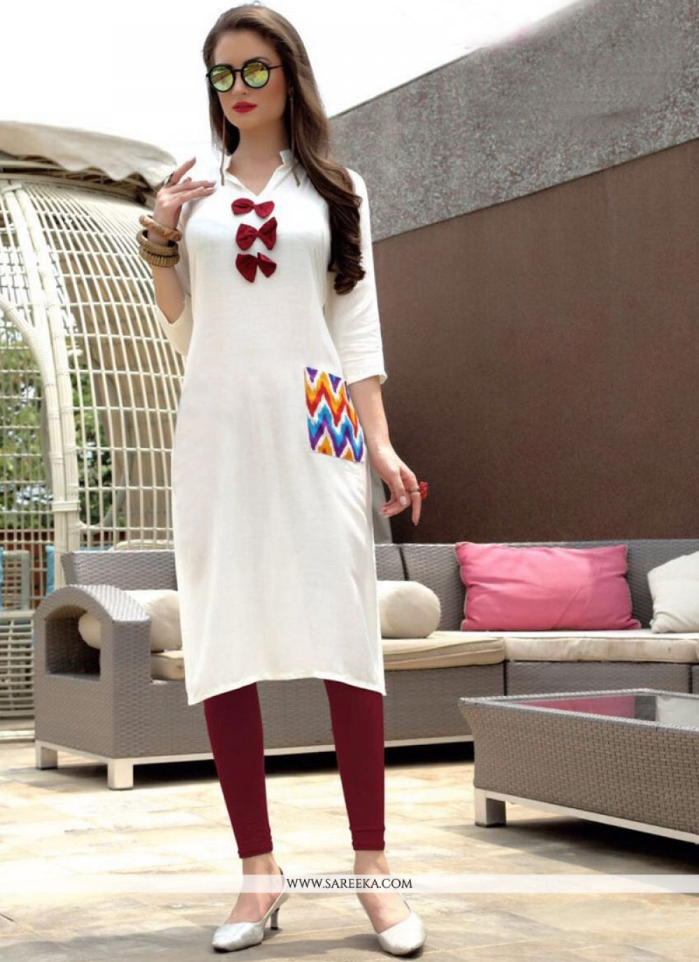 Print Work Rayon White Party Wear Kurti