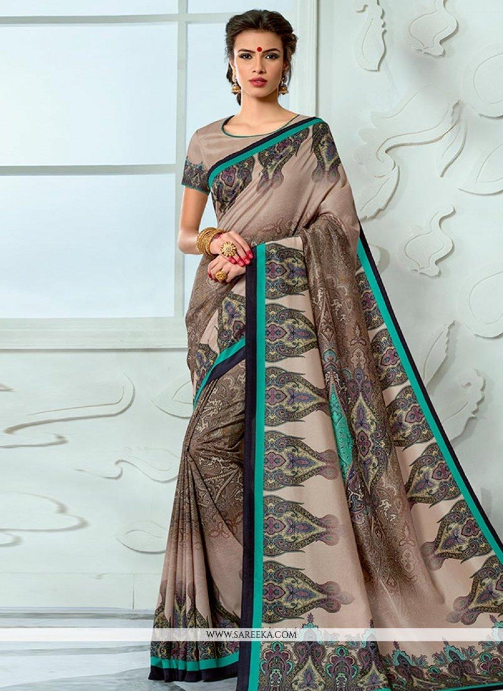 Print Work Tussar Silk Designer Traditional Saree
