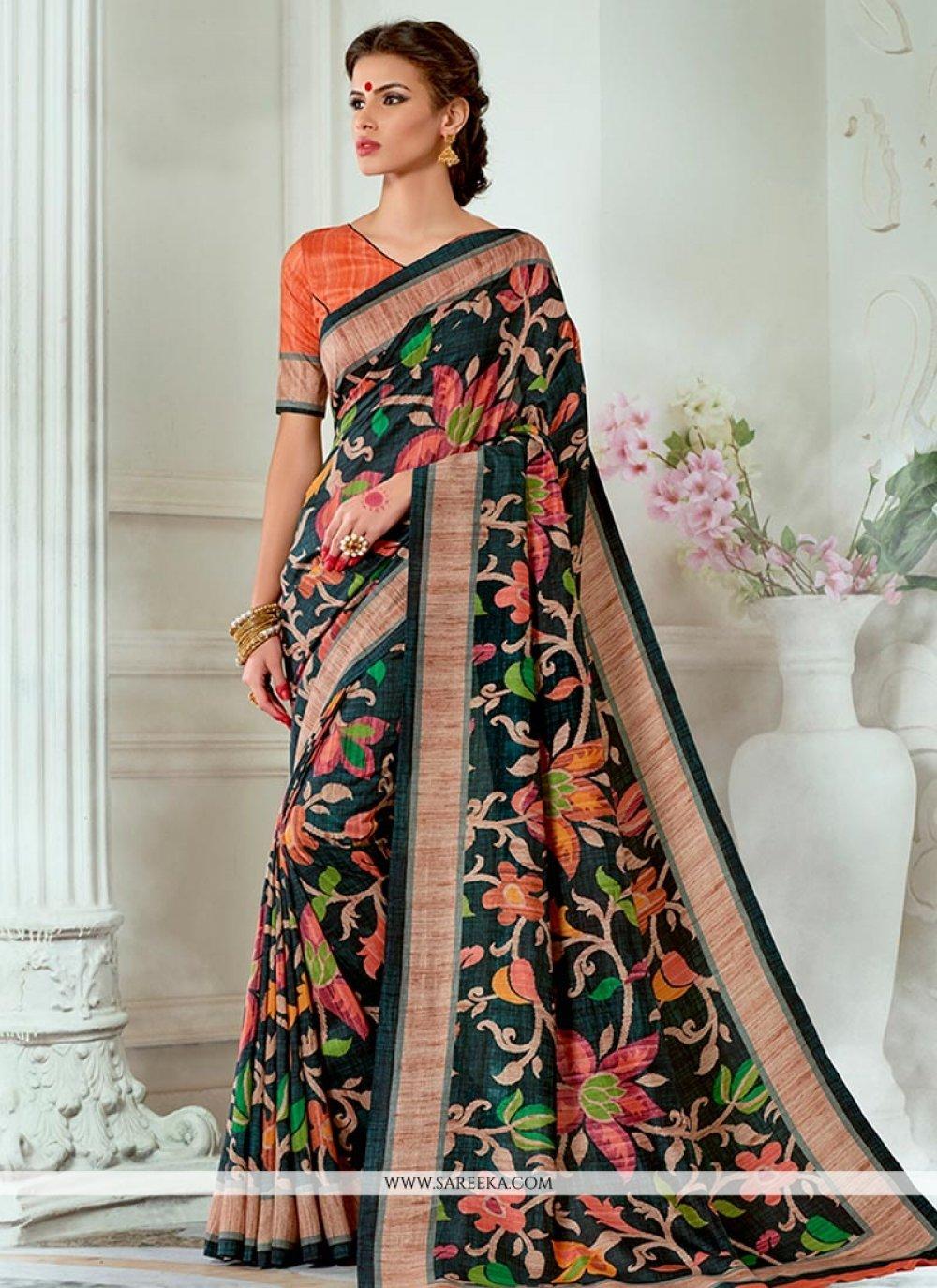 Print Work Tussar Silk Traditional Designer Saree