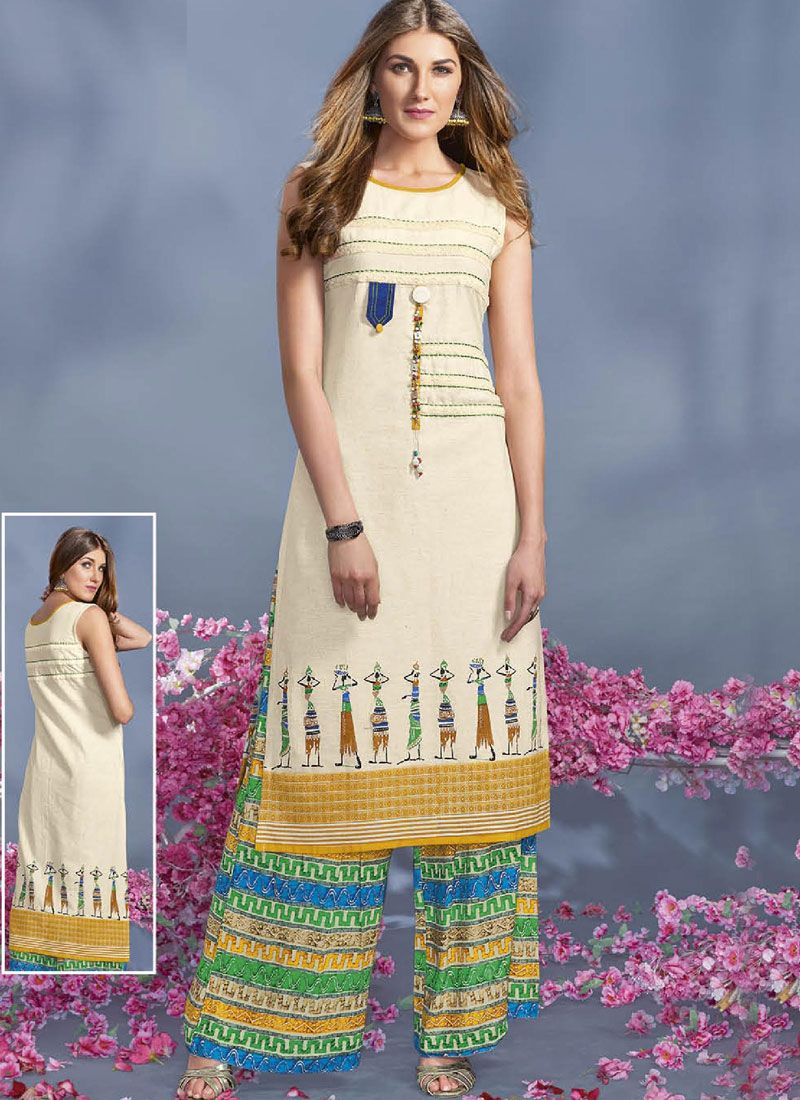 Print Work White Rayon Party Wear Kurti