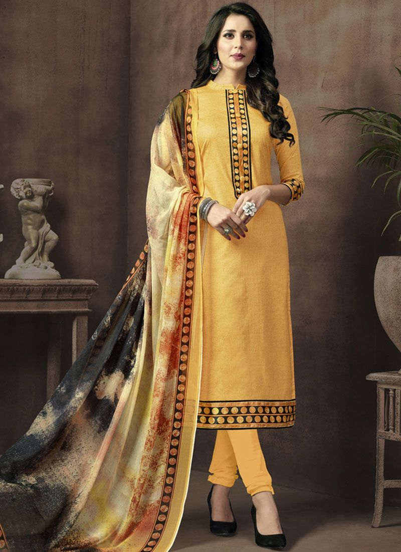 Print Work Yellow Cotton Satin Churidar Suit