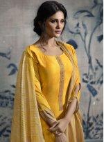 Print Yellow Chanderi Designer Palazzo Suit