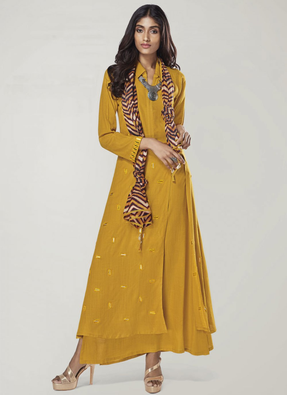Print Yellow Rayon Party Wear Kurti