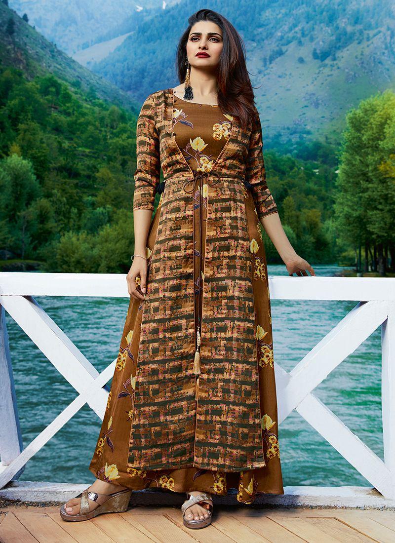 Printed Brown Designer Kurti