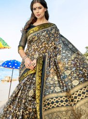 Printed Cotton Silk Traditional  Saree in Black