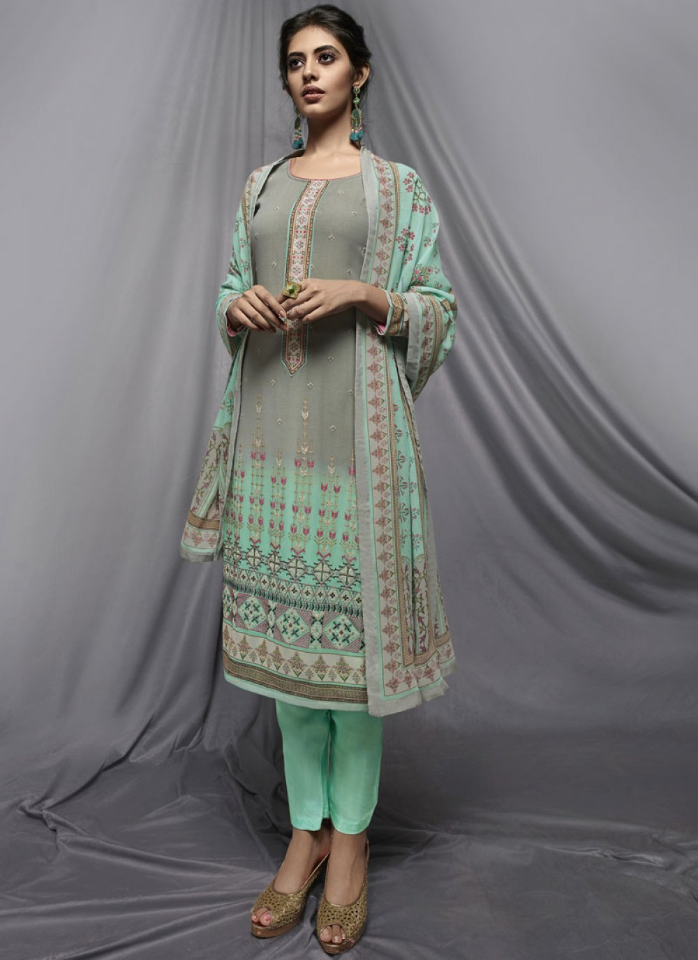 Printed Georgette Multi Colour Pant Style Suit