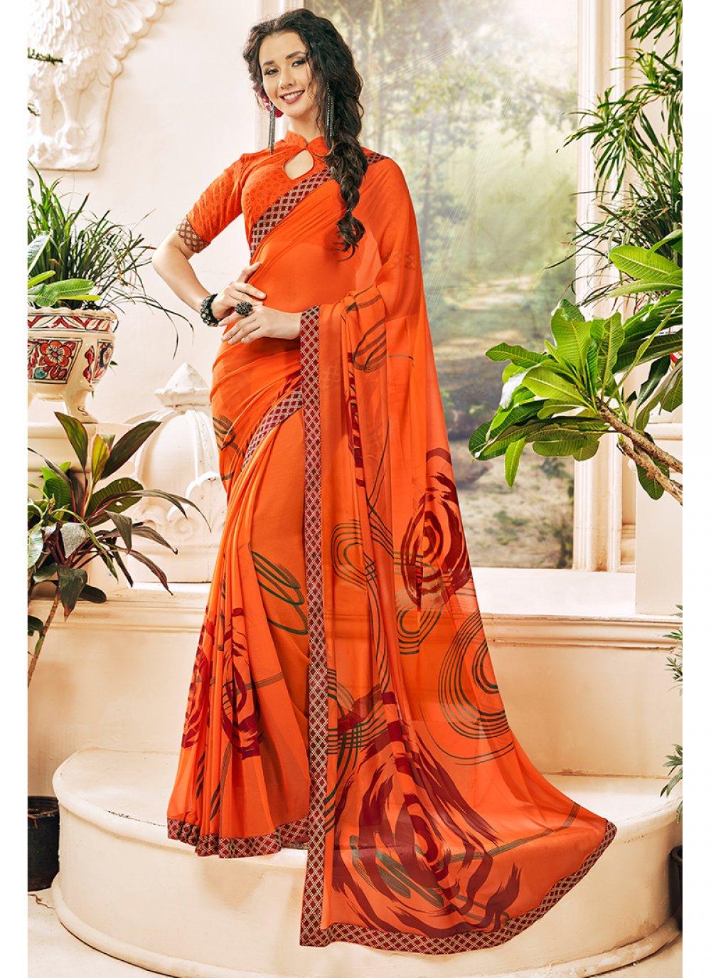Printed Georgette Printed Saree in Orange