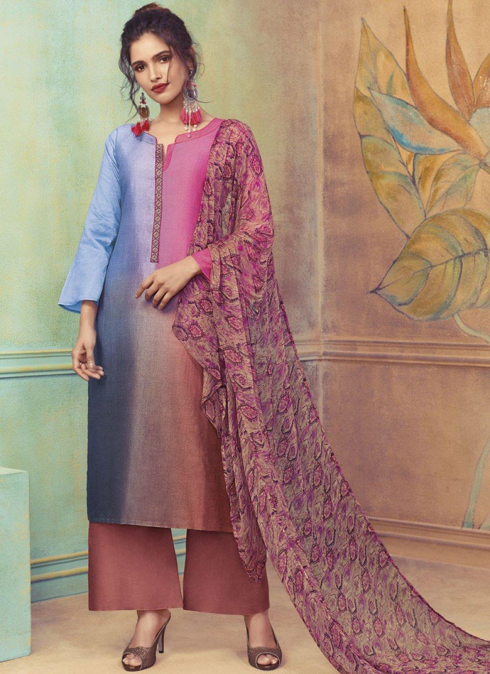 Printed Multi Colour Cotton Satin Designer Suit