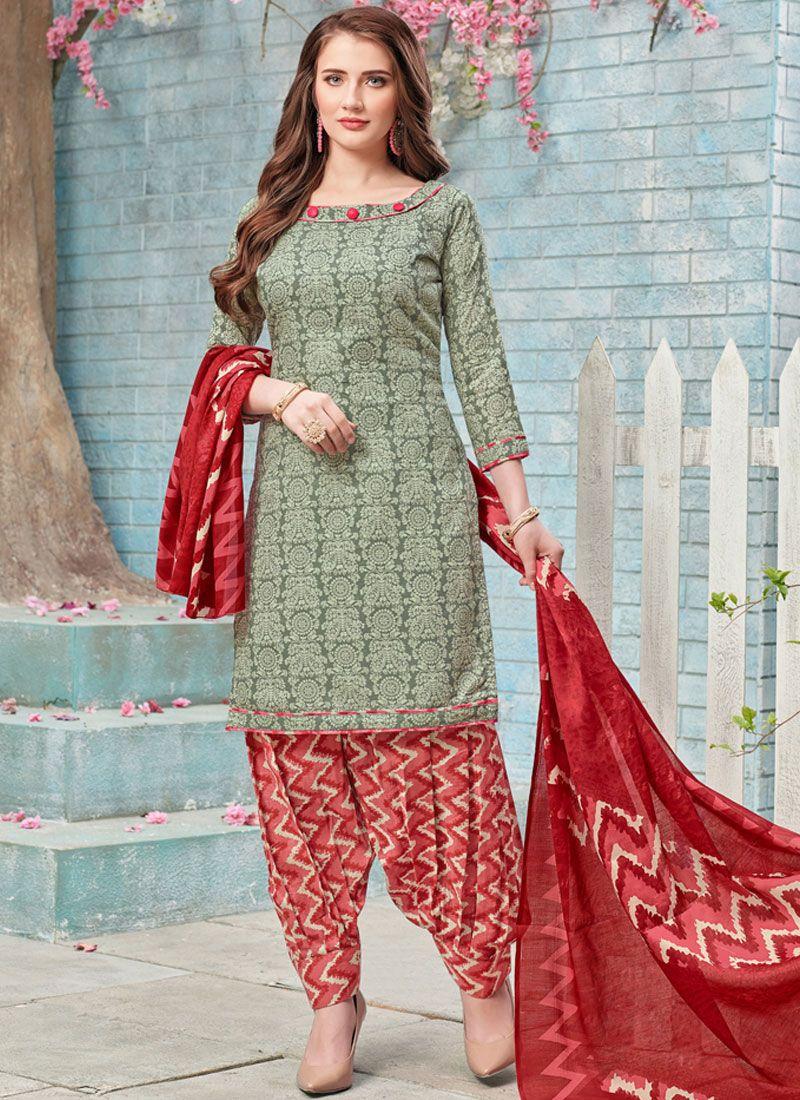 Printed Poly Cotton Punjabi Suit in Grey