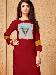Printed Rayon Casual Kurti in Red