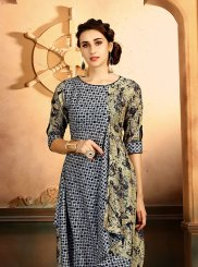 Printed Rayon Party Wear Kurti in Multi Colour