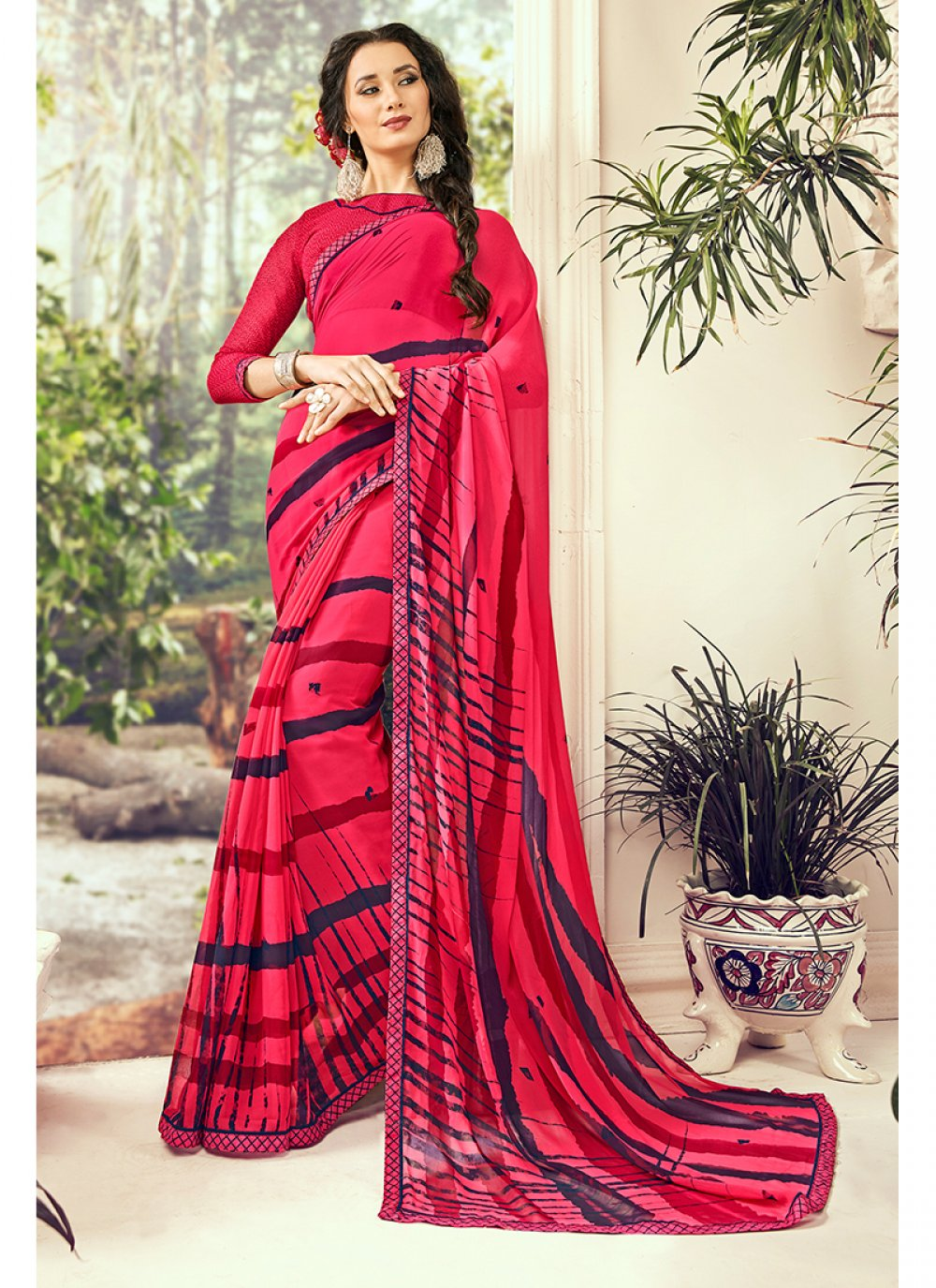 Printed Red Georgette Casual Saree
