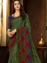 Printed Saree Embroidered Faux Georgette in Multi Colour