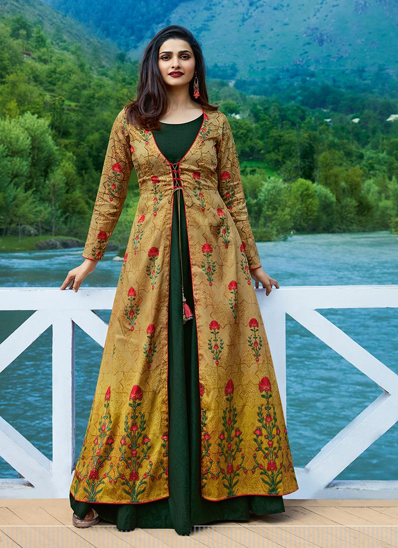 Printed Satin Silk Party Wear Kurti in Green