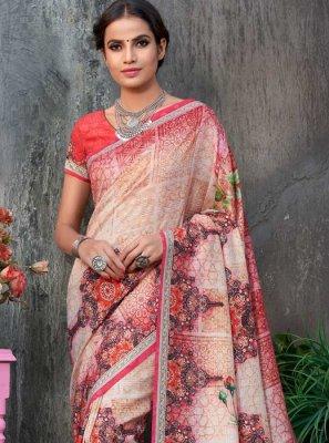 Printed Tussar Silk Classic Saree