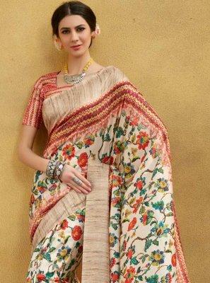 Printed Tussar Silk Traditional Designer Saree in Multi Colour