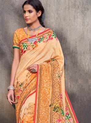 Printed Tussar Silk Trendy Saree in Multi Colour