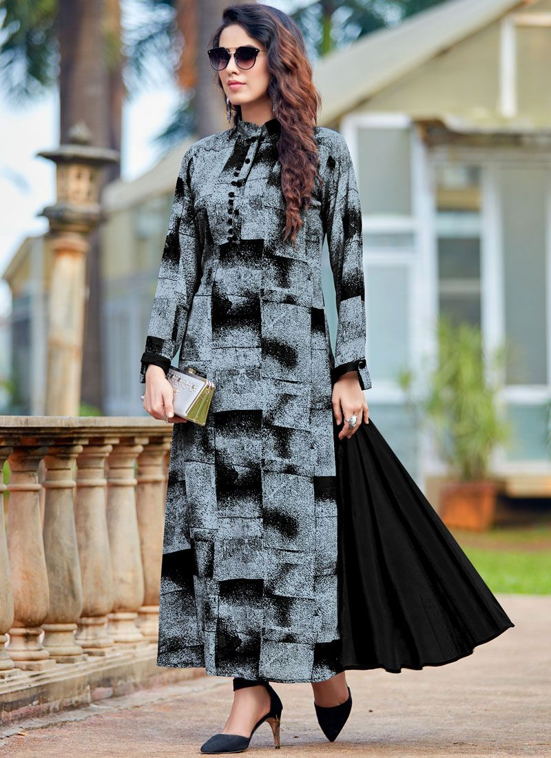 Printed Work Black and Grey Georgette Party Wear Kurti