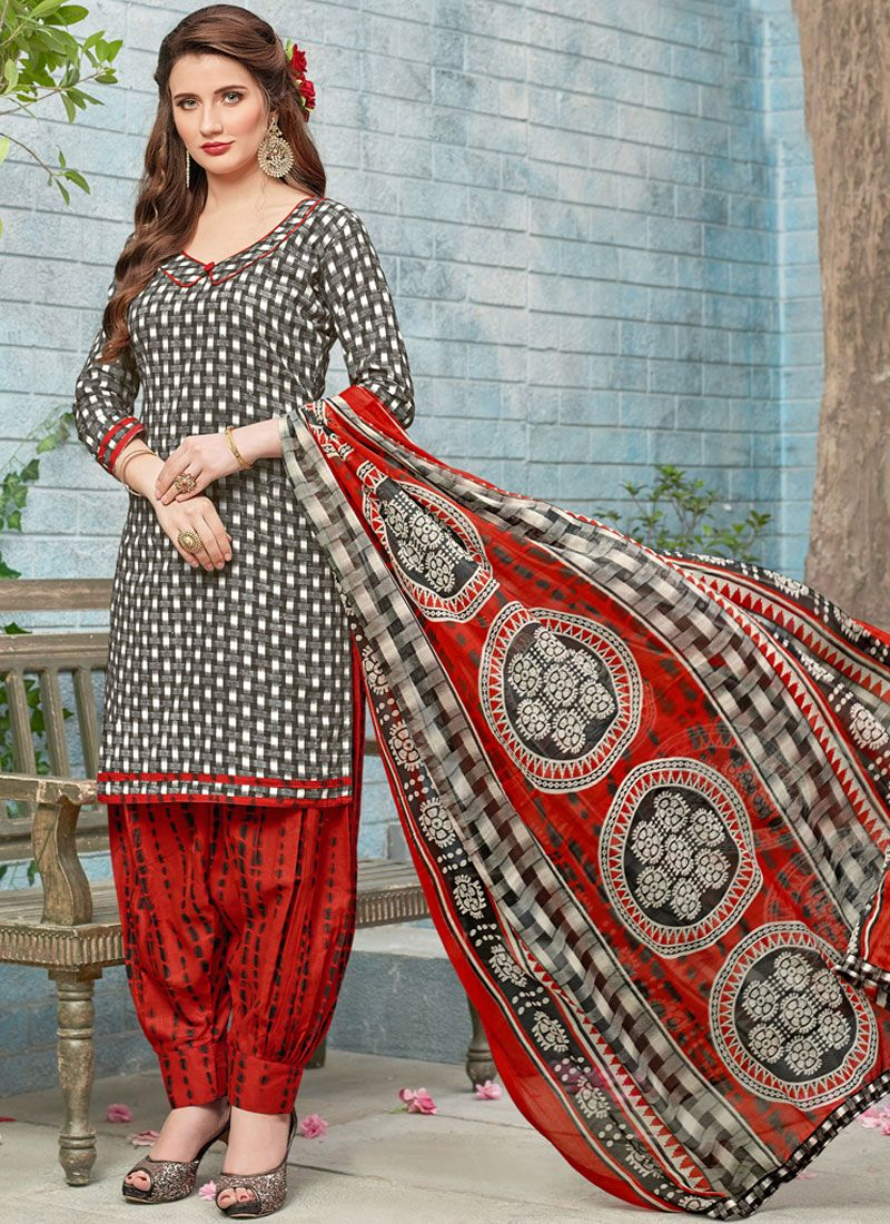Printed Work Black and White Poly Cotton Punjabi Suit