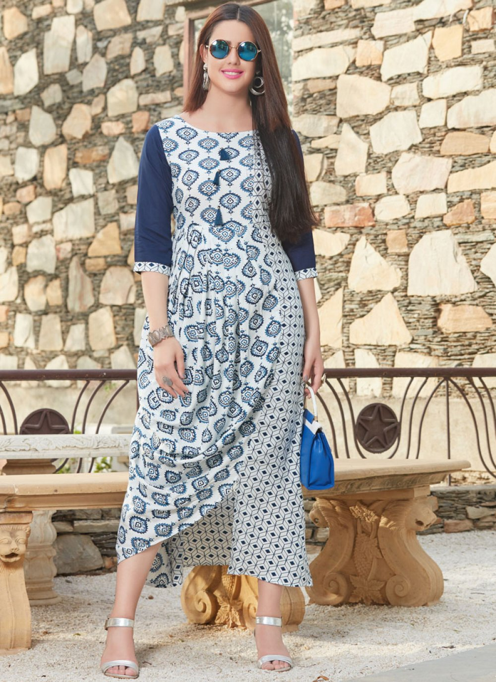 Printed Work Blue Party Wear Kurti