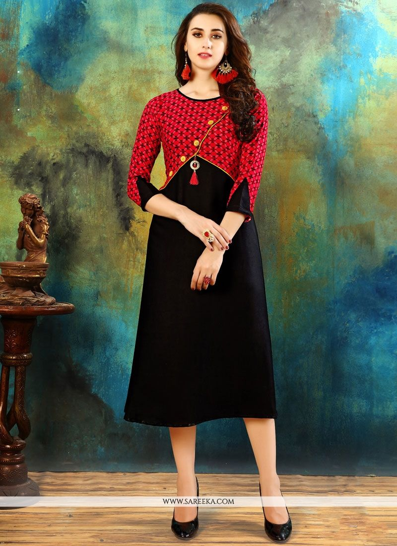 Printed Work Cotton   Casual Kurti in Black and Red