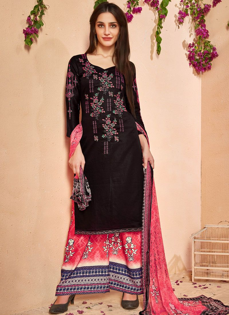 82c4855c651 Shop Online Printed Work Cotton Multi Colour Designer Palazzo Salwar Kameez  : 86471 -