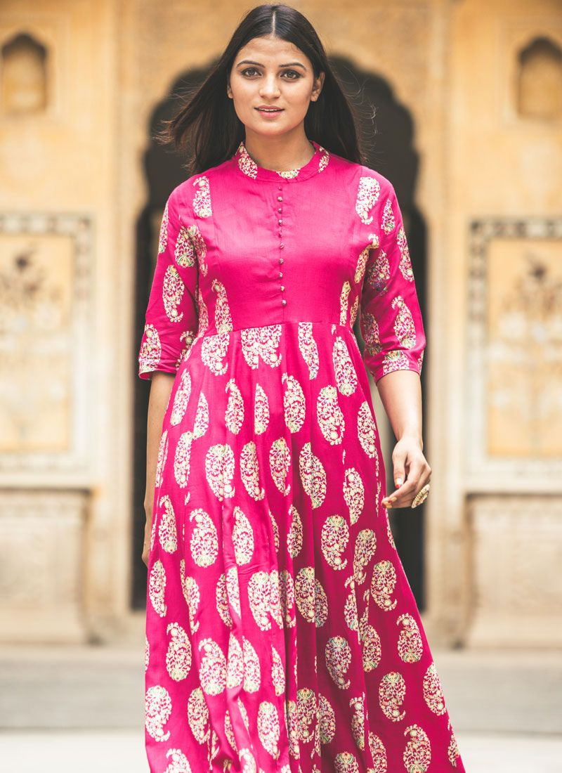 Printed Work Cotton Silk Hot Pink Party Wear Kurti