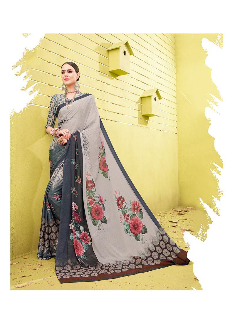 Printed Work Cotton Silk Printed Saree
