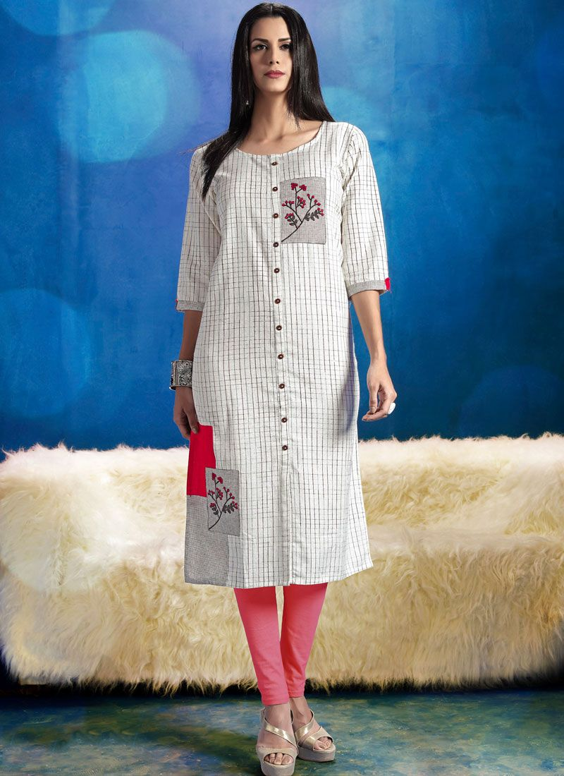 Printed Work Cotton   White Casual Kurti