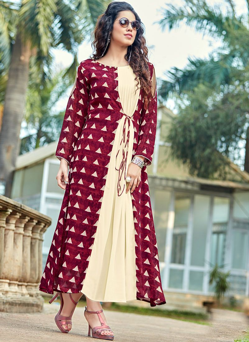 Printed Work Cream and Maroon Georgette Party Wear Kurti