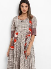 Printed Work Cream Cotton   Party Wear Kurti