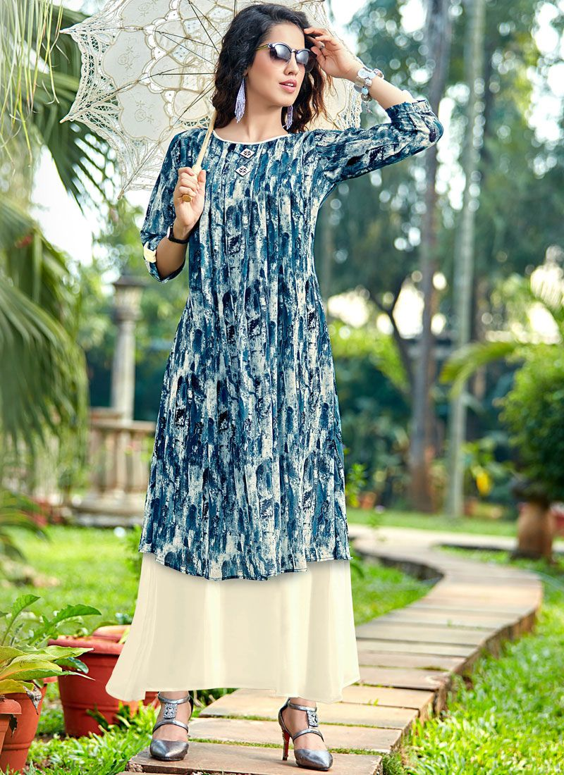 Printed Work Georgette Blue and Cream Party Wear Kurti