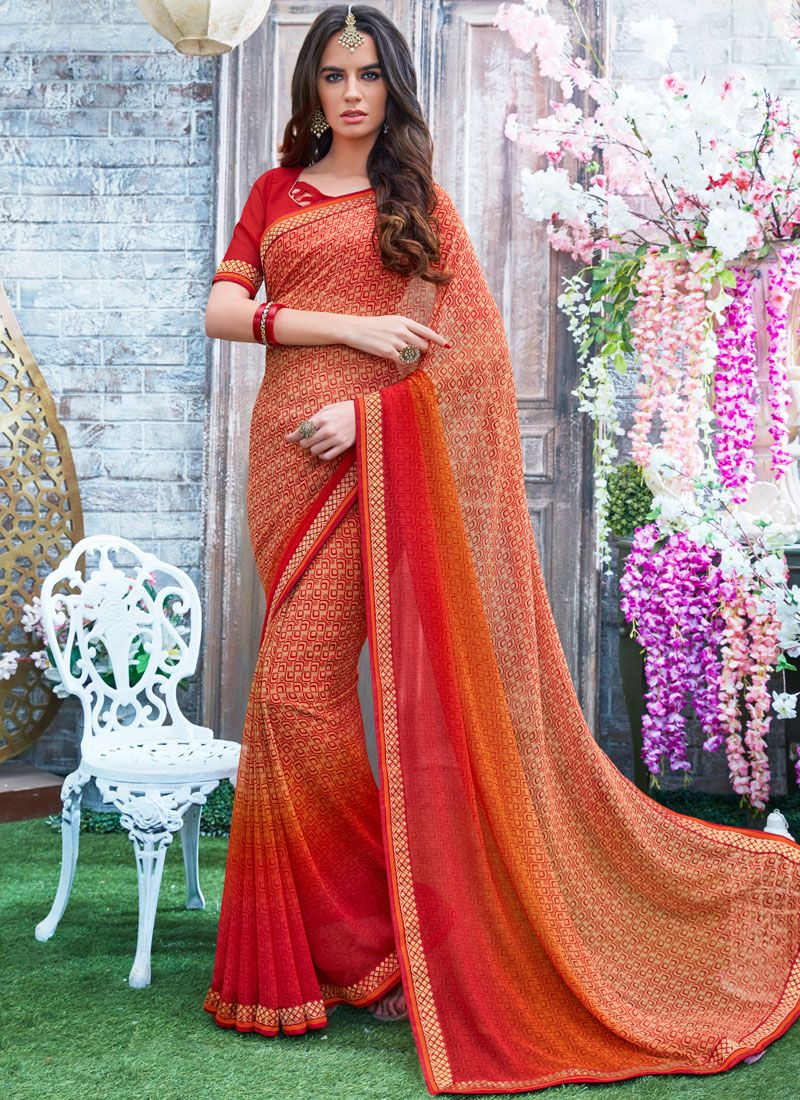 Printed Work Georgette Printed Saree